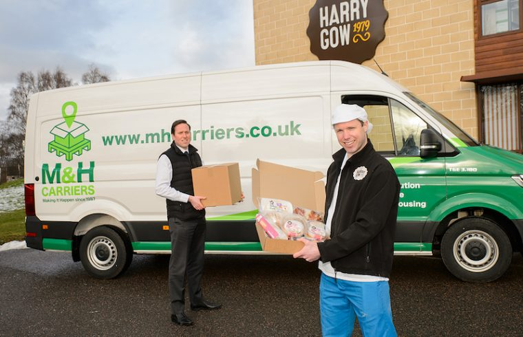 Fraser MacLean (left) and Fraser Gow believe the partnership between Harry Gow and M&H Carriers will bring a smile to Highland and Moray residents during lockdown.