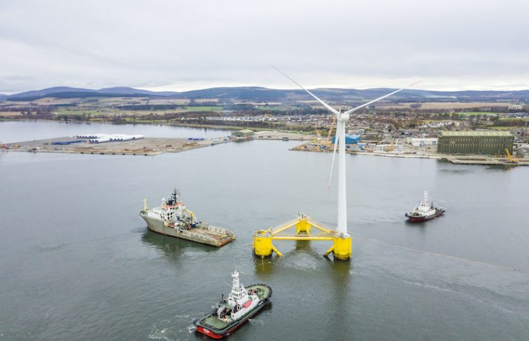 WindFloat 1 demonstration unit, a floating offshore wind unit based in the Cromarty Firth.