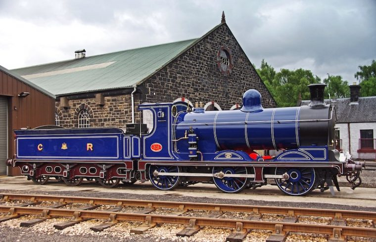 The railway's oldest Locomotive No 828 built by the Caledonian Railway in Glasgow in 1898.