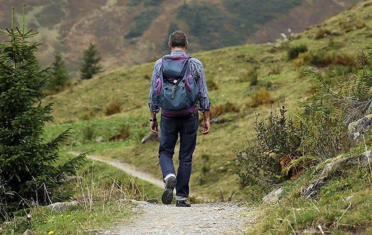 hill walker on mountain path