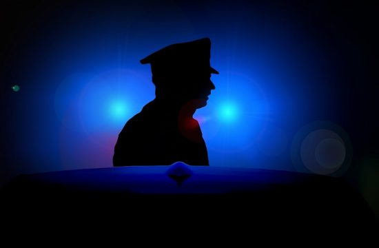 police man and blue lights